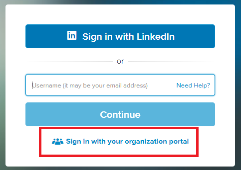 "Screen capture of the Lynda.com sign-in page, highlighting the ""Sign in with institutional login"" button."