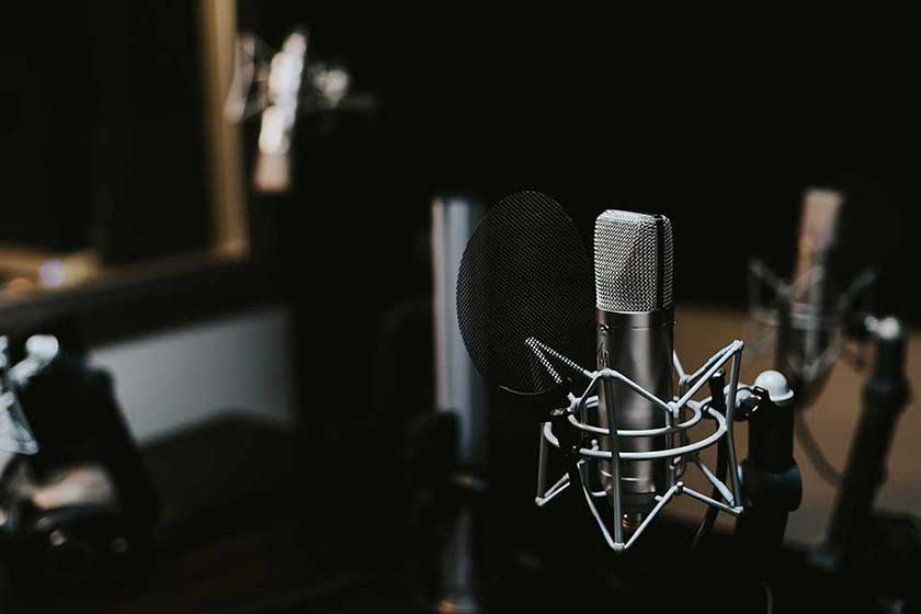 A studio microphone in a recording booth